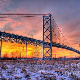 Nicholas  Grunas - Ambassador Bridge Sunrise 1-16-2012  Detroit MI
