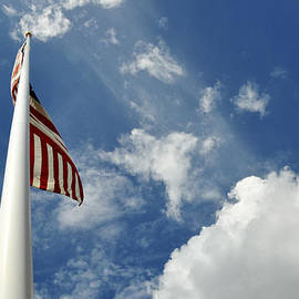 Evelyn Peyton - American Flag Against a Blue Sky From Low Angle