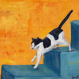 Terry Taylor - Black and White Cat Descending Blue Stairs