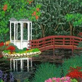 Baslee Troutman Fine Art Prints Gifts - Botanical Garden Park Walk Pink Azaleas Bridge Gazebo Flowering Trees Pond