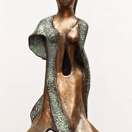Rachel Hershkovitz - Bronze Hollow Lady in Gown Front sculpture in bronze and copper green long hair