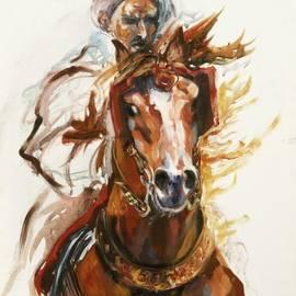 Josette SPIAGGIA - Cheval arabe monte en action