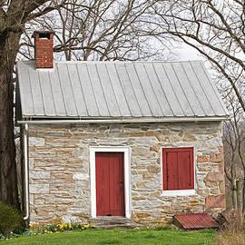 John Stephens - Colonial Limestone Summer Kitchen in Spring