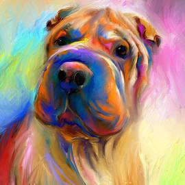 Svetlana Novikova - Colorful Shar Pei Dog portrait painting