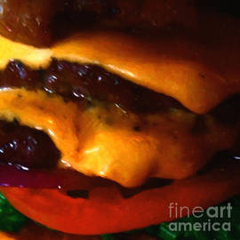 Wingsdomain Art and Photography - Double Cheeseburger With Bacon - Square - Painterly