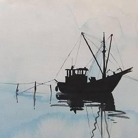 Annemeet Van der Leij - Fishingboat in foggy weather