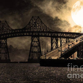 Wingsdomain Art and Photography - Full Moon Surreal Night At The Bay Area Richmond-San Rafael Bridge - 5D18440 - Sepia