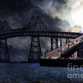 Wingsdomain Art and Photography - Full Moon Surreal Night At The Bay Area Richmond-San Rafael Bridge - 5D18440