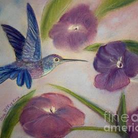 Julie Brugh Riffey - Hummingbird in Purple Flowers