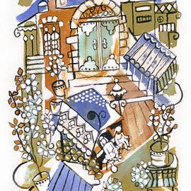 Rachel Hershkovitz - Jerusalem alleys 4 in blue brown orange green and white