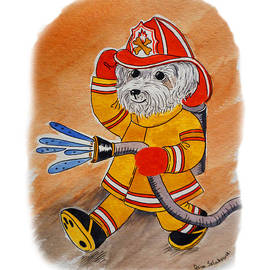 Irina Sztukowski - Kids Art FireDog Firefighter