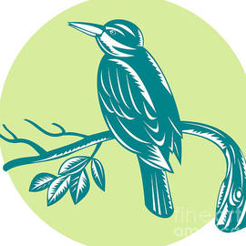 Aloysius Patrimonio - Kingfisher Perching On Branch Woodcut