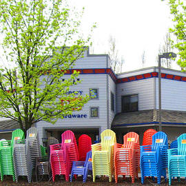 Kym Backland - Line Of Rainbow Chairs