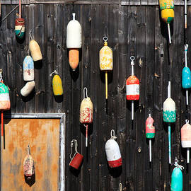 Karen Lee Ensley - Lobster Shack with Brightly Colored Buoys
