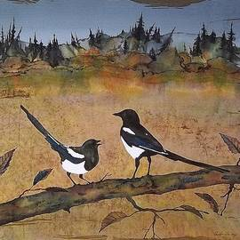 Carolyn Doe - Magpies in the last of Autumns Leaves