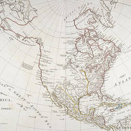 American School - Map depicting North America as Divided by the European Powers