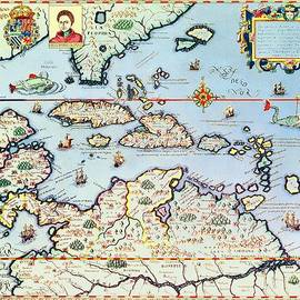 Theodore de Bry  - Map of the Caribbean islands and the American state of Florida