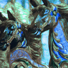 Wingsdomain Art and Photography - Merry Go Around Horses - Painterly - Blue