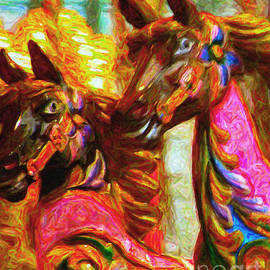 Wingsdomain Art and Photography - Merry Go Around Horses - Painterly