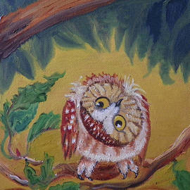 Dawn Senior-Trask - O is for Owl detail from Childhood Quilt painting