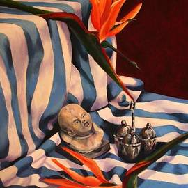 Jolante Hesse - Orange Flowers and Blue Cloth