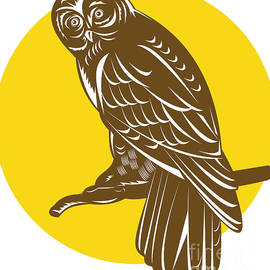 Aloysius Patrimonio - Owl on Branch Retro