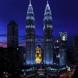 Zoe Ferrie - Petronas Towers in KL Malaysia at twilight.