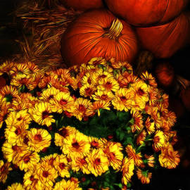 Joan  Minchak - Pumpkins and Chrysanthemums