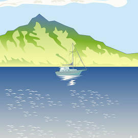 Aloysius Patrimonio - Sailboat Mountains Retro