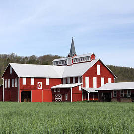 John Stephens - Stately Red Barn With Elongated Clerestory Cupola