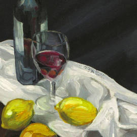 Peter Allan - Still life with lemons and wine