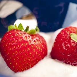 Andy Smy - STRAWBERRIES IN CREAM close-up food still-life of berries for breakfast or dessert