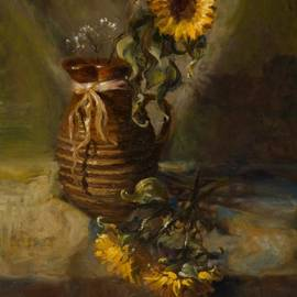 Sandra Quintus - Sunflowers in Clay Pitcher