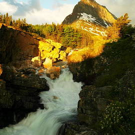 Jeff  Swan - Sunrise On A Waterfall At Glacier