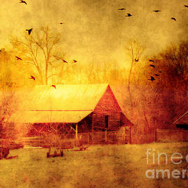 Kathy Fornal - Surreal Red Yellow Barn With Ravens Landscape