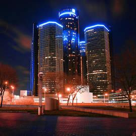Gordon Dean II - The GM Renaissance Center At Night From Hart Plaza Detroit Michigan