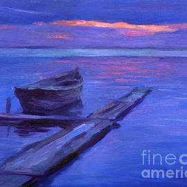Svetlana Novikova - Tranquil boat sunset painting