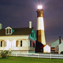Patrick M Lynch - Tybee Light on Rainy Night