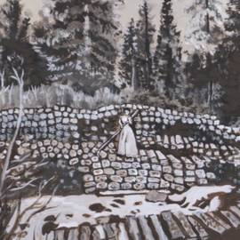 Dawn Senior-Trask - Woman Tie Hack historical vignette from River Mural