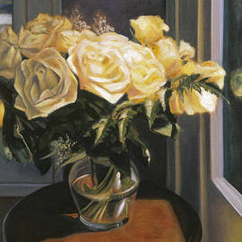 Mary Gingrich - Yellow Roses in a Glass Vase