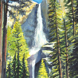 Carol Wisniewski - Yosemite Falls Watercolor Painting