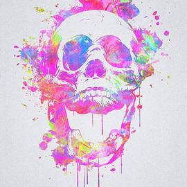 Philipp Rietz -  Cool and Trendy Pink Watercolor Skull