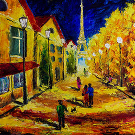 Valery Rybakow -  Evening walk through the old streets of Paris - - Palette Knife Oil Painting On Canvas By Rybakow