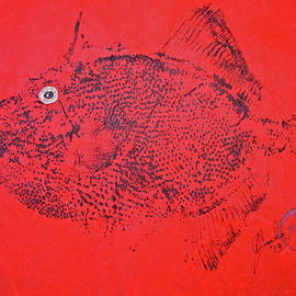 Jeffrey Canha -  Gyotaku - Triggerfish - Queen Trigger 2