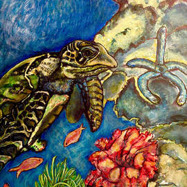 Kimberlee  Baxter -  Sweet Mystery of the Sea A Hawksbill Sea Turtle Coasting in the Coral Reefs Original