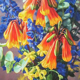 Fiona Craig - Blandfordia and Delphiniums