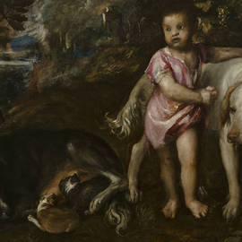Boy with Dogs in a Landscape - Titian