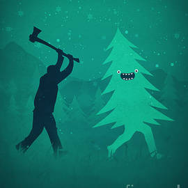 Philipp Rietz - Funny Cartoon Christmas tree is chased by Lumberjack Run Forrest Run
