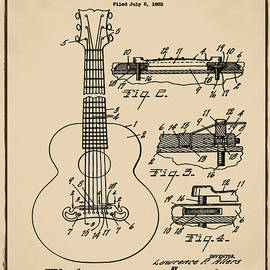 Digital Reproductions - Gibson Acoustic Guitar Patent 1955 Sepia
