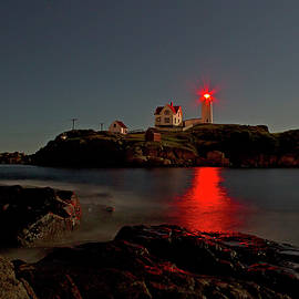 John Vose - Nubble Lighthouse Lit by the Full Moon